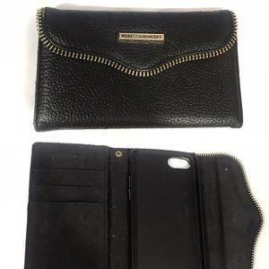 Rebecca Minkoff black leather phone case wallet